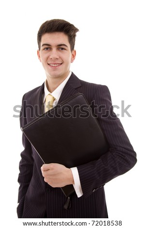 Portrait of happy smiling young businessman with  folder, isolated on white background - stock photo
