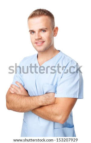 Portrait of happy smiling young male nurse in uniform isolated on white background