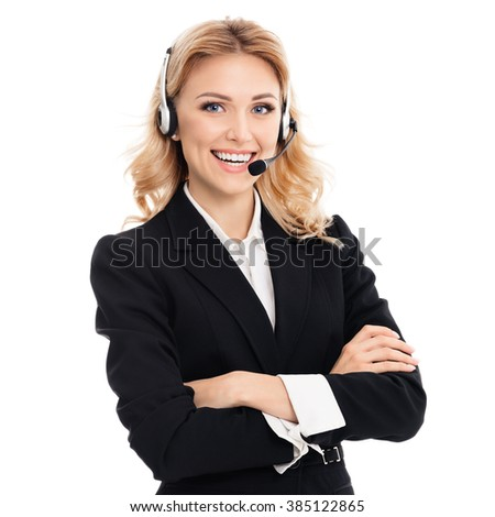 Portrait of happy smiling young support phone operator or businesswomen in headset, isolated against white background - stock photo