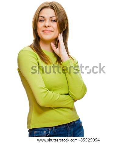 Portrait of happy smiling young woman posing against white background. Studio isolated - stock photo