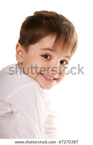 Portrait of happy sniling cute little boy isolated on white background - stock photo