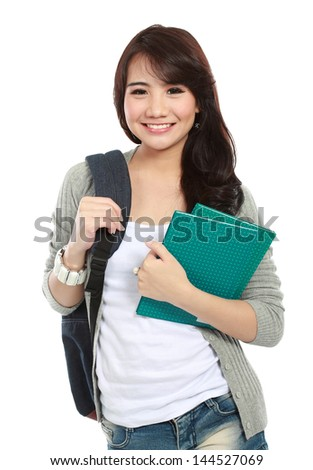 portrait of happy student ready go to campus - stock photo