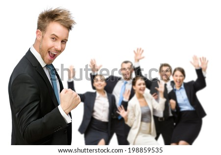 Portrait of happy successful business group over white background - stock photo