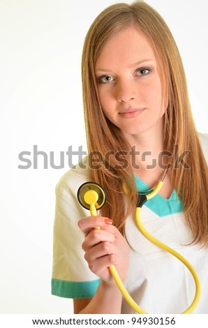Portrait of happy successful female doctor - stock photo
