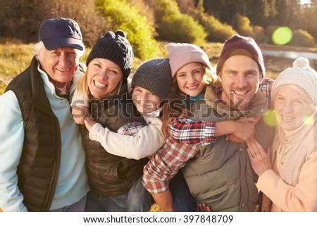 Portrait of Happy Three Generation Family by Lake, California, USA - stock photo