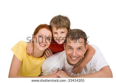 Portrait of happy three people looking at camera - stock photo