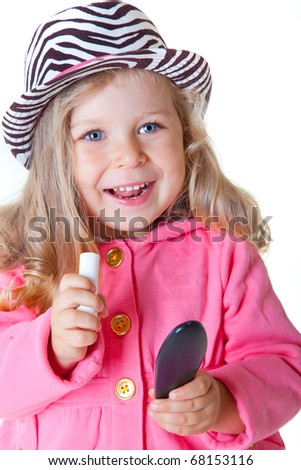 portrait of happy toddler girl in fashionable hat - stock photo