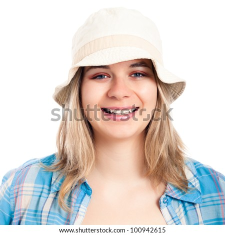 Portrait of happy tourist woman wearing hat, isolated on white background.