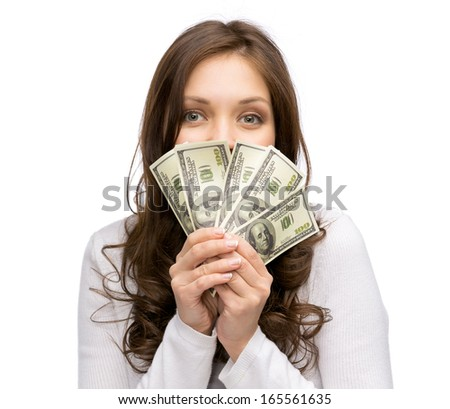 Portrait of happy woman handing money, isolated on white. Concept of wealth and income