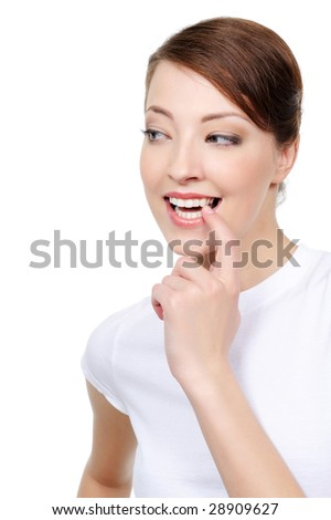 portrait of happy woman looking side with interest - stock photo
