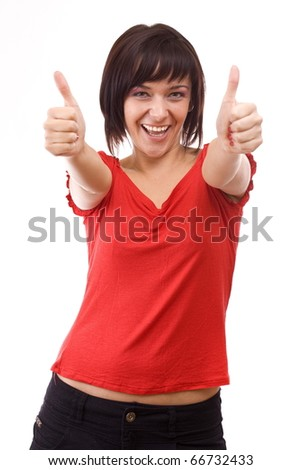 Portrait of happy woman pointing with both hands towards the camera - stock photo