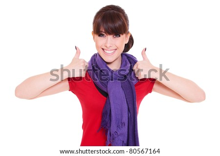 portrait of happy woman showing thumbs up. isolated on white background - stock photo