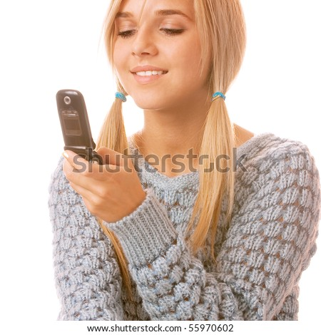 Portrait of happy woman with mobile phone, isolated on white background. - stock photo