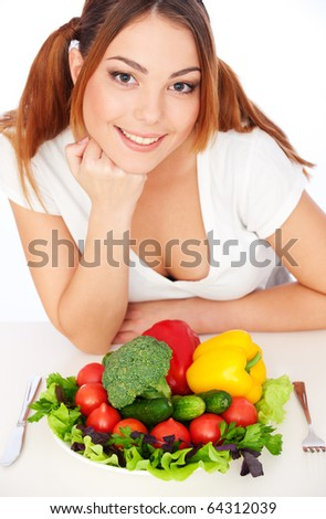 portrait of happy woman with vegetables. isolated on white background