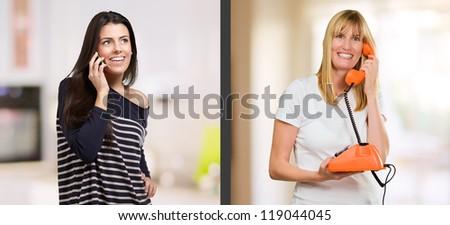 Portrait Of Happy Women Talking On Phone, Indoors - stock photo