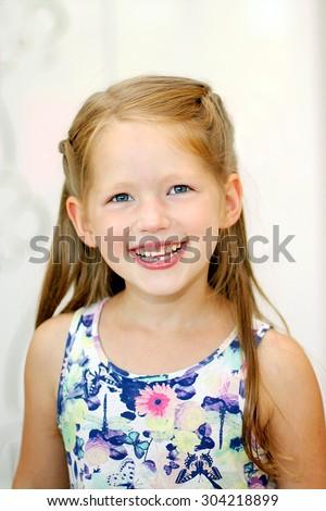 Portrait of happy 5 years old girl - stock photo