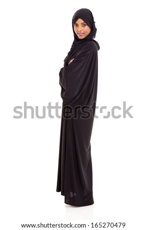portrait of happy young arabian woman on white background - stock photo