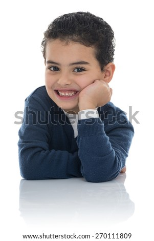 Portrait of Happy Young Boy Isolated on White Background - stock photo