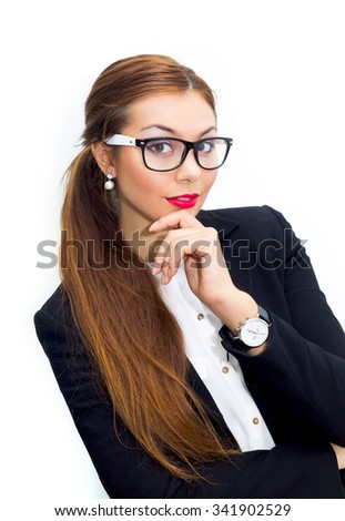 Portrait of happy young business woman.Confident young businesswoman in suit.Smiling businesswoman in gesture of asking over white background. Looking at camera. Wearing in white shirt and glasses  - stock photo