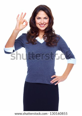 Portrait of happy young business woman isolated on white background. - stock photo