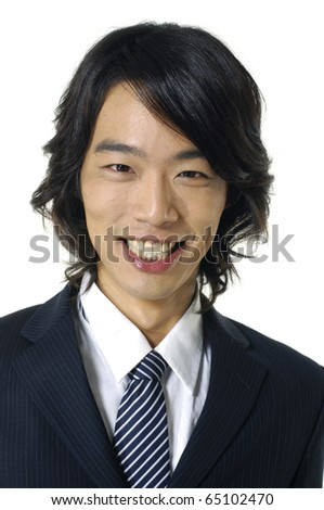 portrait of happy young businessman-close up - stock photo