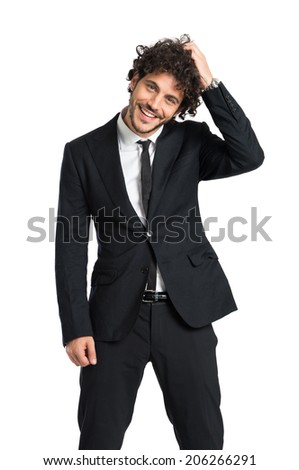 Portrait Of Happy Young Businessman In Tuxedo Isolated On White Background - stock photo