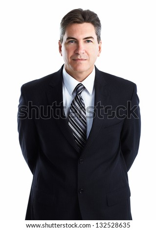Portrait of happy young businessman isolated on white background