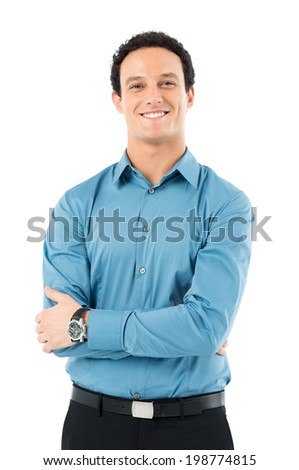 Portrait Of Happy Young Businessman With Arm Crossed Looking At Camera Isolated Onr White Background - stock photo