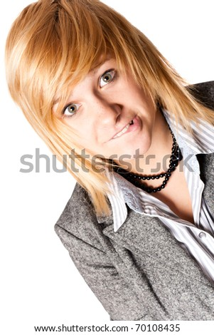 portrait of happy young businesswoman closeup on white background - stock photo