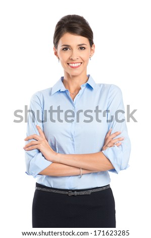 Portrait Of Happy Young Businesswoman Isolated Over White Background