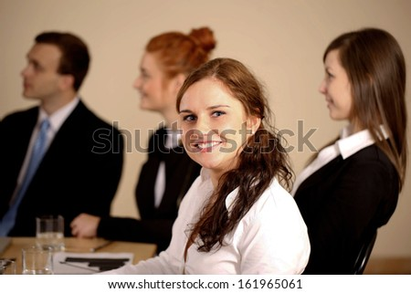 Portrait of happy Young businesswoman working in Office - stock photo