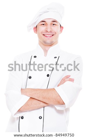 portrait of happy young cook. isolated on white background