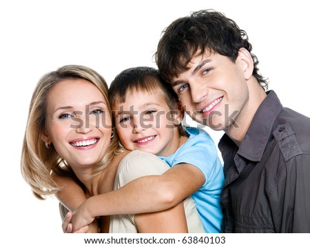 Portrait of happy young family with son - on white background - stock photo