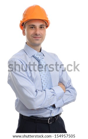 Portrait of happy young foreman with hard hat. Isolated - stock photo