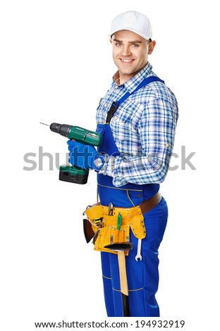 Portrait of happy young male construction worker with electric drill isolated on white background