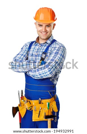 Portrait of happy young male construction worker with tool belt isolated on white background