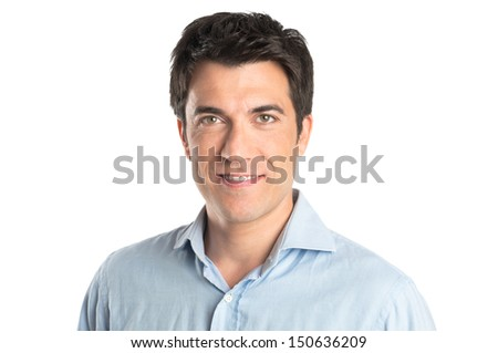 Portrait Of Happy Young Man Isolated On White Background  - stock photo