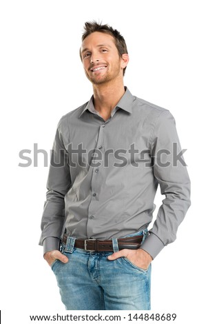 Portrait Of Happy Young Man Isolated Over White Background - stock photo