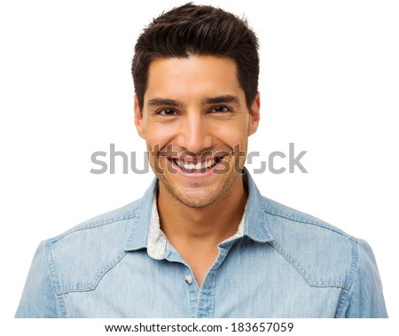 Portrait of happy young man isolated over white background. Horizontal shot. - stock photo