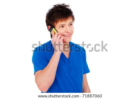 portrait of happy young man talking on cellphone. isolated on white background - stock photo