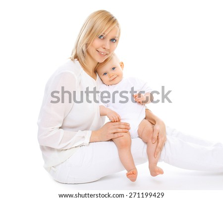 Portrait of happy young mom and her cute little baby together - stock photo