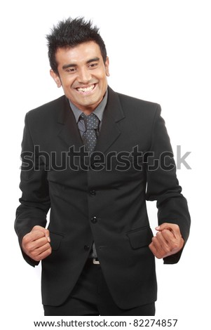 portrait of happy young successful businessman - stock photo