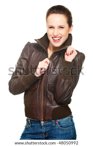 portrait of happy young woman. isolated on white - stock photo