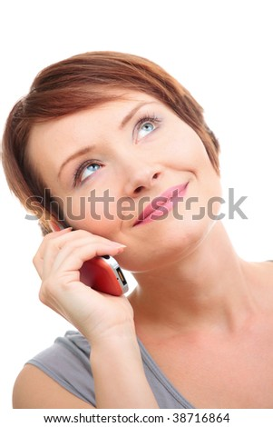 Portrait of happy young woman looking up with orange phone isolated over white - stock photo