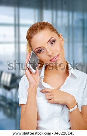 Portrait of happy young Woman Talking On Mobile Phone - stock photo