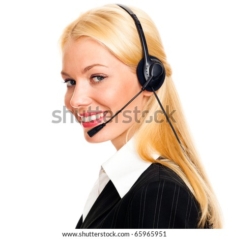 Portrait of happy young woman with headphones on white background - stock photo