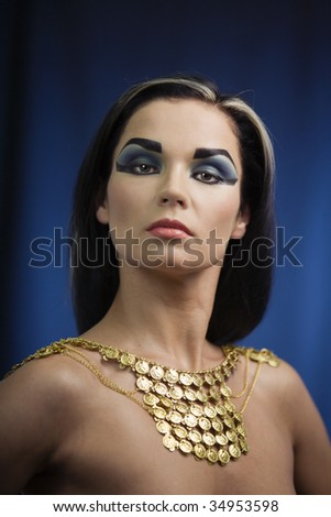 Portrait of haughty egyptian woman in ancient style - stock photo