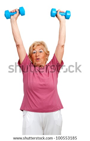 Portrait of healthy senior  woman raising arms with weights.Isolated on white.