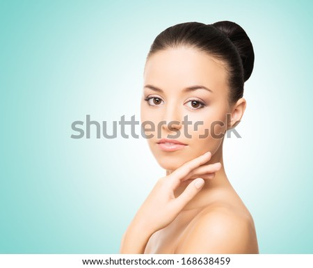 Portrait of healthy, young and beautiful woman in spa style - stock photo