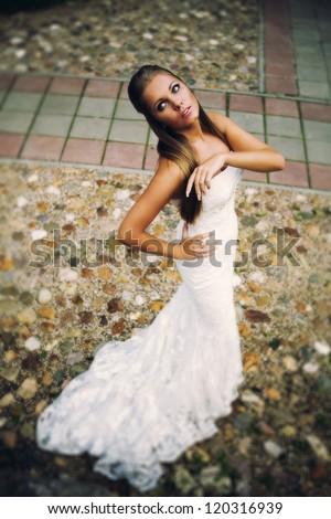 Portrait of his wife, the wedding dress - stock photo